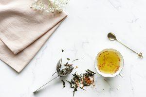 Aerial view of hot safflower tea drink